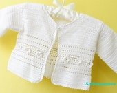 Sale  - Crochet baby sweater, white baby vest,, Christening /Baptism  sweater, Ready to Ship