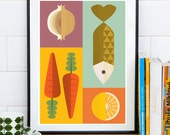 Scandinavian print, Reteo kitchen, Kitchen print, Art for Kitchen, Kitchen decor, Retro poster, minimalist print, Colorful kitchen decor