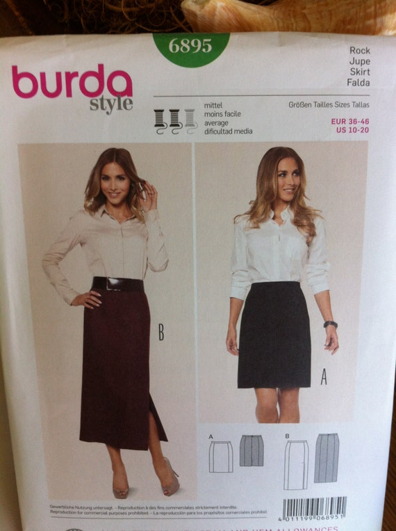 burda pattern no 6895 skirt pattern us sizes 10 20 germany straight skirt pattern multiple. Black Bedroom Furniture Sets. Home Design Ideas