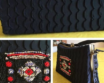 Vintage Navy Blue Ruffled Satin & Beaded Clutch
