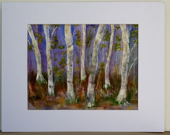 Birch Tree Painting - original watercolor - Landscape Trees - Painting of Woods - Original Painting Large Painting - Forest