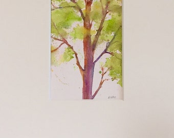 Tree painting - Original watercolor - tree in spring - landscape - fine art home decor - wall art painting
