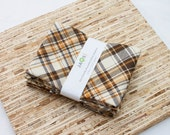 Large Cloth Napkins - Set of 4 - (N3403) - Brown Plaid Pattern Modern Reusable Fabric Napkins