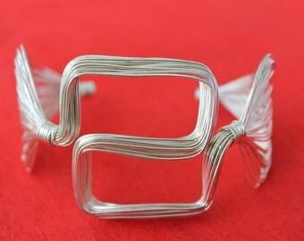 Sterling Silver Wire Braided Flexible Cuff Bracelet