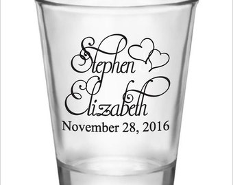 Wedding Favor Shot Glasses 72 Personalized Wedding Favors 1.5oz Glass Shot Glasses New 2017 2018