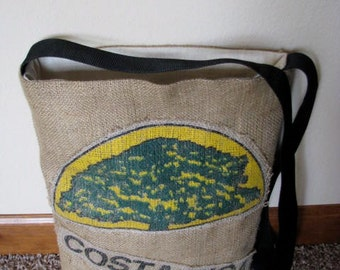 Recycled Burlap Coffee Bag Tote  - Costa Rica