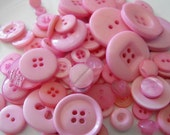 Blush Pink Buttons, 100 Bulk Assorted Round Multi Size Crafting Sewing Buttons