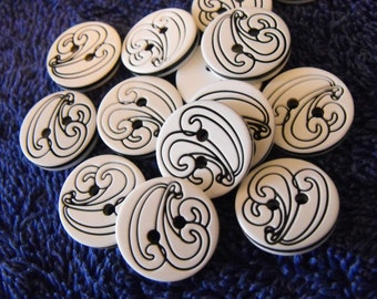 """12 White with Black Swirl Round Buttons Size 11/16""""."""