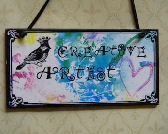 Create Art Creative Artist Two-Sided Door Hanger Sign Plaque