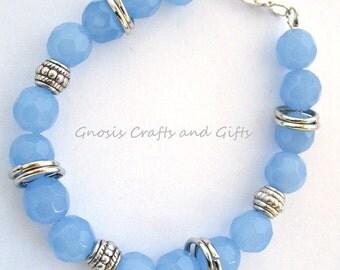 Opaque aqua- Glass bracelet, Tibetan silver bracelet, Chunky bracelet,  Baby blue bracelet, Something blue, Bridal gift, Mother's day.