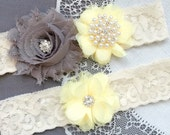 Wedding Garter Belt Set Bridal Garter Set Ivory Lace Garter Belt Light Yellow Garter Set Rhinestone Crystal Pearl Garter GR192LX