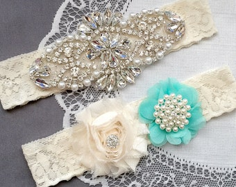 Wedding Garter Bridal Garter TEAL BLUE Garter Set Lace Garter Ivory Rhinestone Crystal Pearl Garter Beach Wedding GR144LX