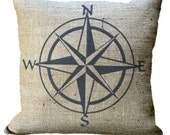 Burlap Navy or Red Nautical Compass in choice of 14x14 16x16 18x18 20x20 22x22 24x24 26x26 inch Pillow Cover