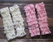 Girls Lace Leg Warmers - Pink Ruffle Legwarmers - Ivory Lace Leg Warmers - Baby Toddler Kids Legwarmers - Ruffled Lace Leggings