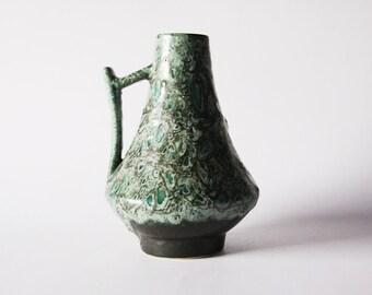 Vintage German Green Lava Vase Pitcher - Heinz Martin for Jopeko 60s 70s