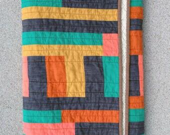 Hattie Butner throw quilt    improv modern quilt yellow orange navy blue teal pink striped handmade homemade cotton throw