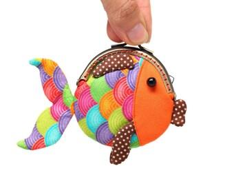 Tiny orange goldfish clutch purse