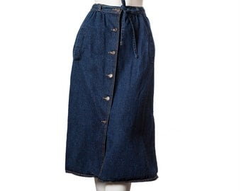 Vintage long button down blue jean skirt -- early 90s Gap jean skirt -- size small xs