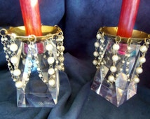 Brass Wax Collector Bobeche With Faux Pearls Joined By Silver Colored Chain, vintage