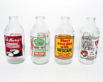 Vintage 1980's Advertising Milk Bottles - Vase / Jug - Nescafe - Cadbury's