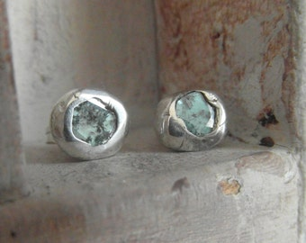 Exotic- ocean blue genuine natural Diamonds-  Stud Earrings-post back- one of a kind organic silver