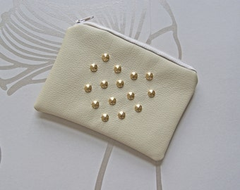 SALE - Heart Studded PU Leather Pouch