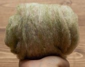 New Jade Green Needle Felting Wool, Wool Batting, Batts, Wet Felting, Spinning, Dyed Felting Wool, Light Green, Sage, Fiber Art Supplies