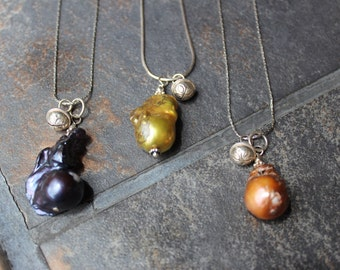 Vintage dyed Fresh water pearls with Bells