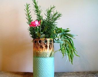 """8"""" Vase / Utensil Holder with Porcelain Dots, Cerulean Green/Mocha, Handmade Wheel-Thrown"""