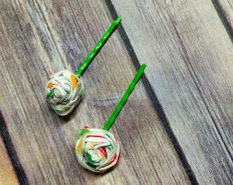 Shabby Rose Bobby Pin set on Green Bobby Pins