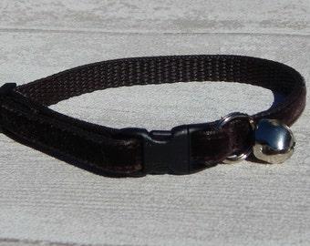 Brown Velvet Cat Collar