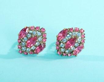 Vintage 1930s Rhinestone Dress Clips - Pink Blue Pair - Bridal Fashions
