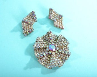 1960s Red Aurora Borealis Brooch Earrings - 3D Rhinestones - 1950s Vintage Fashions