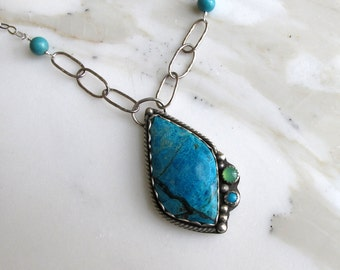 Morenci Chrysocolla in Oxidized Sterling Silver Necklace, Jewelry One of a Kind Handmade
