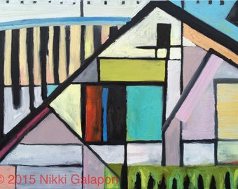 Original abstract oil painting modern art 40x30 inches on stretched linen geometric house multi-color Nikki Galapon