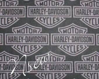 "HARLEY DAVIDSON Motorcycle Fabric SILVER Logo on Black """""