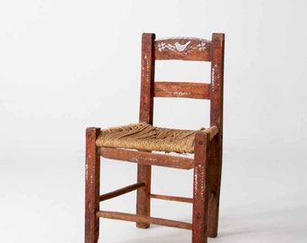 antique folk art chair, rush seat, painted birds