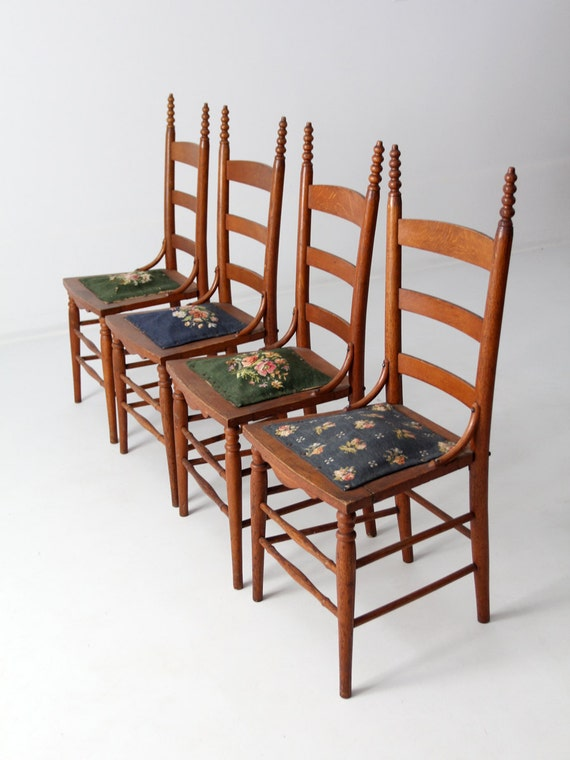 - Antique Ladder Back Chairs With Needlepoint Seat