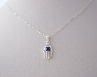 Small FATIMA/HAMSA HAND Evil Eye sterling silver pendant with necklace chain, Protection and luck symbol