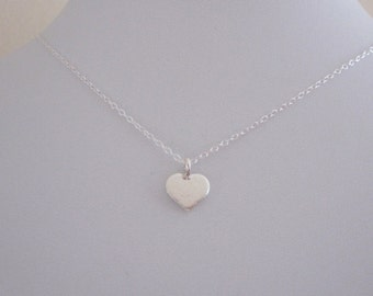 Small HEART charm sterling silver necklace, Love, Valentine's Day minimalistic jewelry