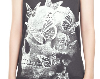 Butterfly Skull Shirt Skull Tank Top Butterfly Skull Punk Rock Tank Women Shirt Tunic Top Vest Sleeveless Tank Top Size M,L,XL - IZJBT80