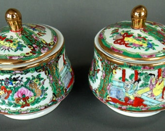 2 Porcelain Hand Painted Sugar Condiment Jelly Bowls With Lids 4 Pieces Japanese Geisha Girl Pattern MINT