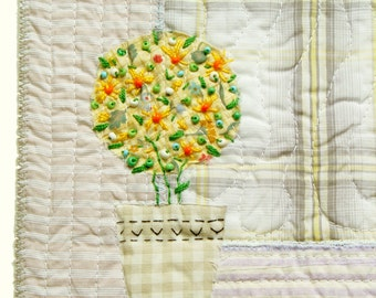 Yellow flowers in pot textile art, sunny bouquet in yellow, mixed media art, floral decor, Wall Decor, yellow white, green grey, for kitchen