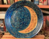 """e.e. cummings """"You are my sun, my moon, and all my stars"""" Hand painted decorative plate - Large, night sky design - Poetry - Romance"""