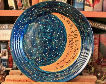 "e.e. cummings ""You are my sun, my moon, and all my stars"" Hand painted decorative plate - Large, night sky design - Poetry - Romance"