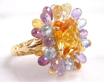 Vintage 14K Yellow Gold Citrine and Multi Gemstone Briolette Ring