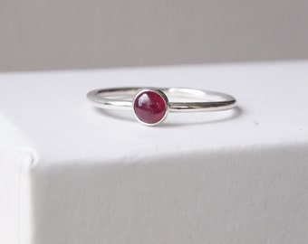 Ruby Birthstone Ring, Silver and Ruby Ring, Birthstone Jewelry, July Birthday Gifts, Silver Gemstone Ring, Red Silver Ring