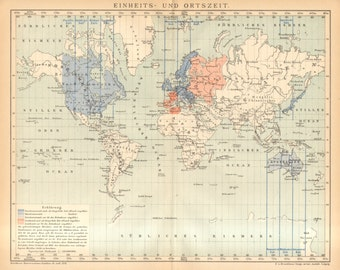 1903 Original Antique Map of Standard and Local Solar Times of the World