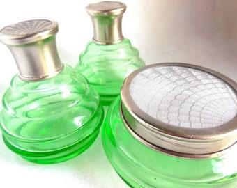 20's Green Glass Dresser Set Guilloché Silver Lids Jar and 2 Bottles Art Deco Boudoir decor 3 Piece Collectible Charmer
