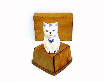 Vintage Cat Creamer Blue & White China Kitten Cream Pitcher Transferware Animal Figurine